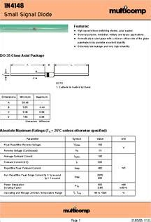 datasheet of zener diode 1n4148 1n4148 datasheet specifications diode type small signal forward