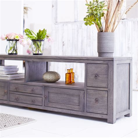 Grey Tv Cabinet by Tikamoon Solid Painted Grey Mindi Wood Tv Cabinet