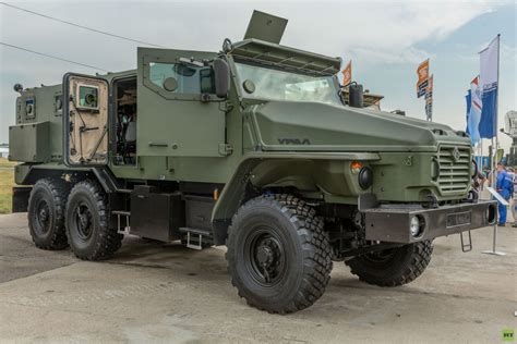 russian military jeep russian military truck ural typhoon front three quarters
