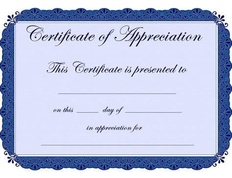 certification template free printable certificates certificate of appreciation