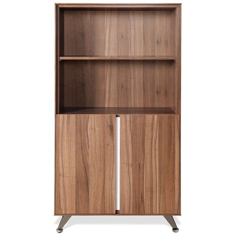 Contemporary Bookcase With Doors Walnut Dcg Stores Modern Bookcase With Doors