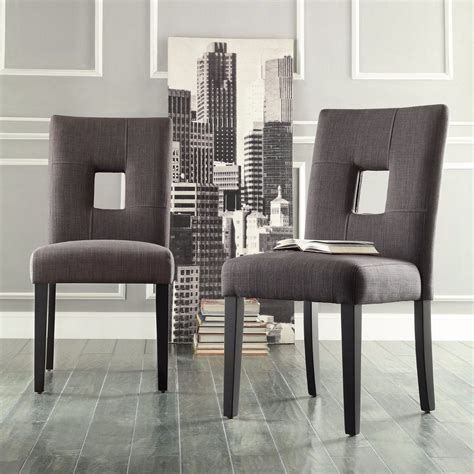 Dining Room Chairs Set Of 2 Chairs For Dining Room Set Of 2 Kitchen Modern Upholstered Grey Linen Back Ebay