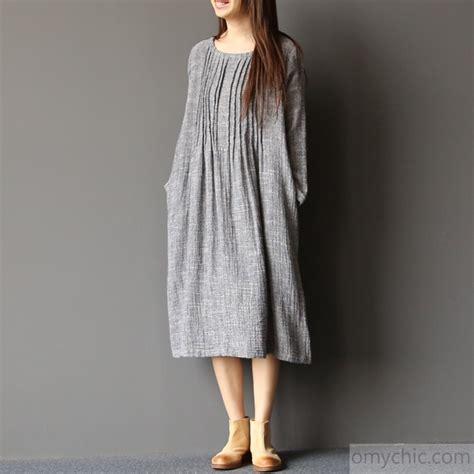 Grey Cotton Dress 2017 light gray linen dresses plus size pleated