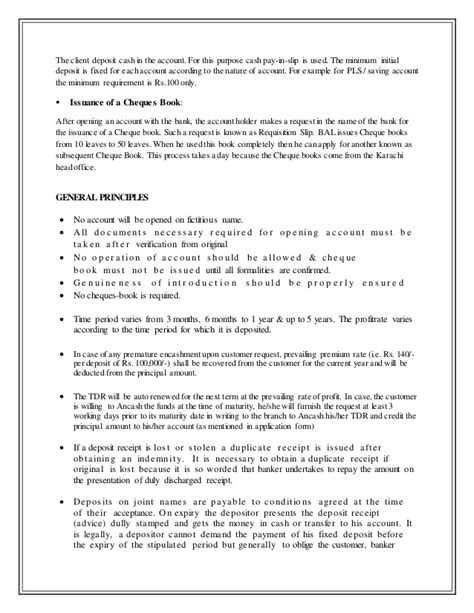 Withdrawal Fixed Deposit Letter Internship Report