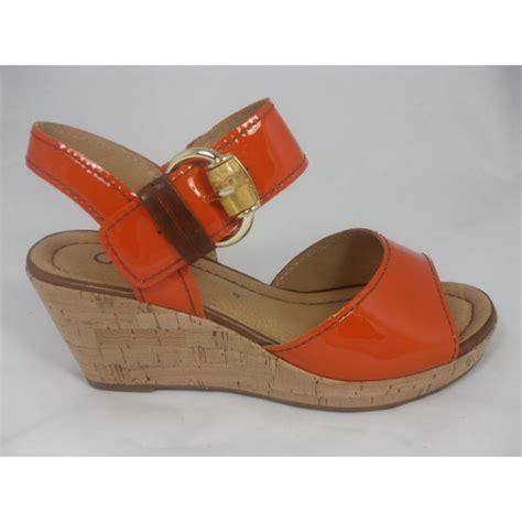 orange cork wedge sandals gabor gabor dova orange patent cork wedge sandal