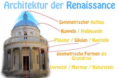 architektur fassade begriffe renaissance epoche merkmale werke vertreter