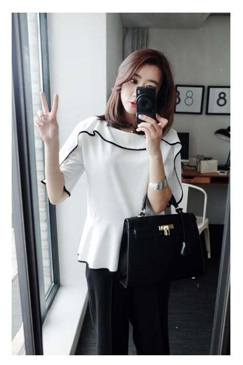 Stelan Celana Hitam Blouse Putih Wa blouse warna putih hitam termodern 2015 myrosefashion
