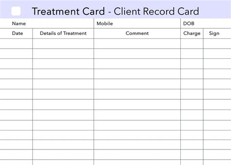 nail technician client record card template additional treatment client record card clients record