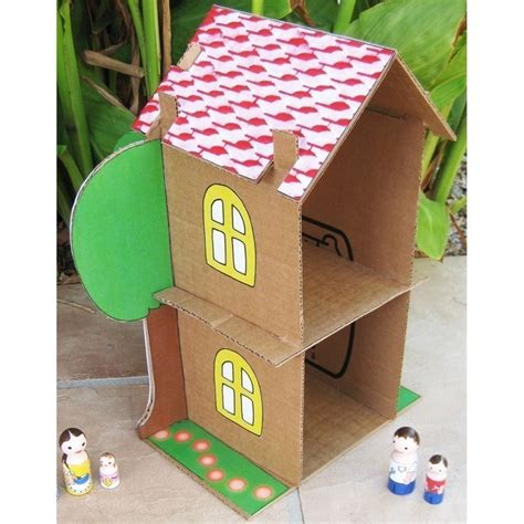 Cardboard Paper Craft - cardboard dollhouse pdf pattern recycle cardboard boxes