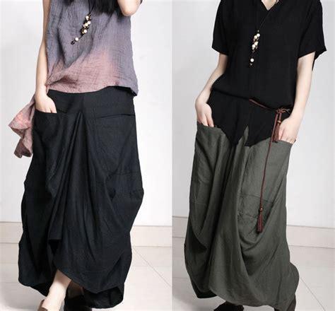 Skirt Sk002 big pocket asymmetrcial cotton skirt maxi skirt sk002 on