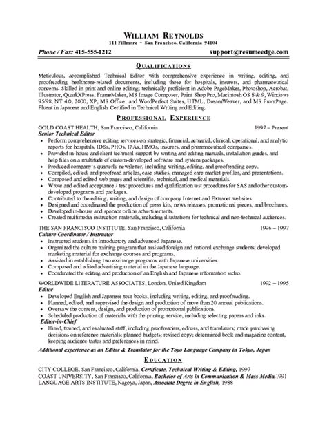 Sle Resume For Editor Writer Technical Editor Resume