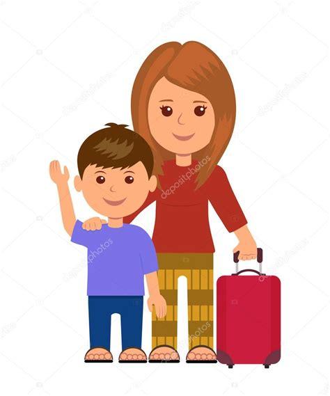 imagenes de niños viajando madre e hijo con bolsa de equipaje viajeros de la