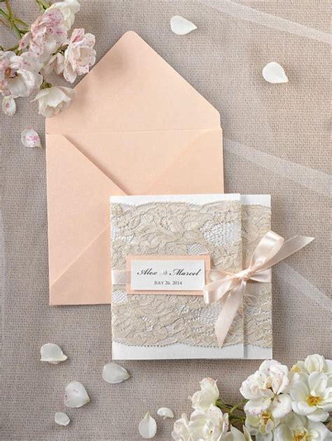 Hochzeitseinladung Jute Spitze by Wedding Invitations Lace Coral Invitation 2218364