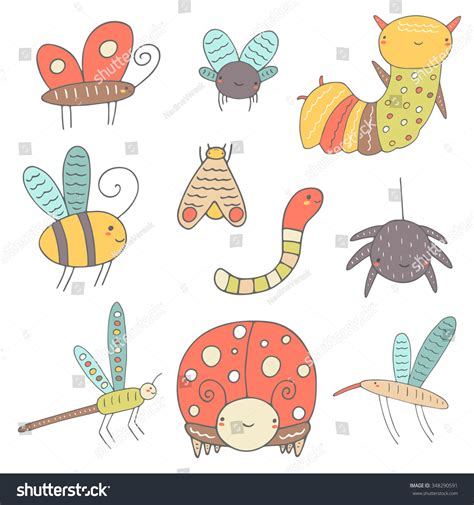 doodle bug worm doodle insects collection stock vector