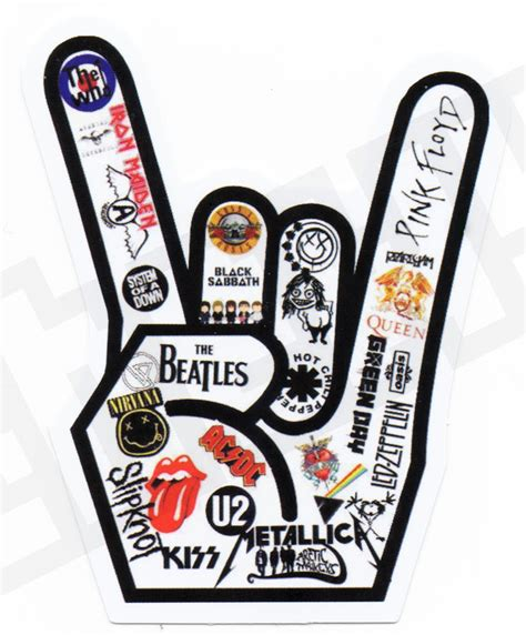 printable guitar stickers music rock hand sticker decal skateboards mug phone guitar