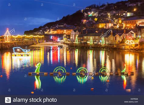 beautiful display of christmas lights at mousehole harbour