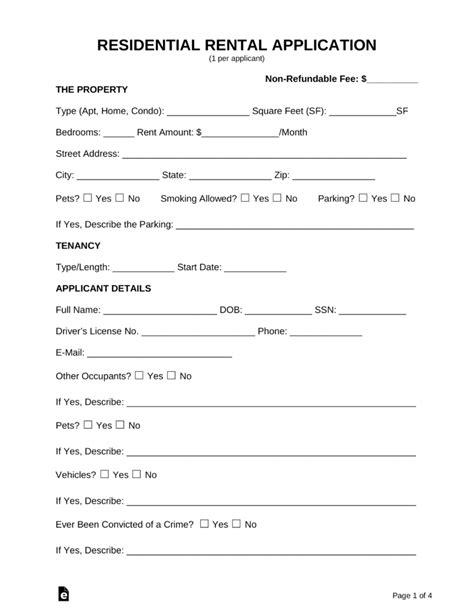 Rental Applications Templates