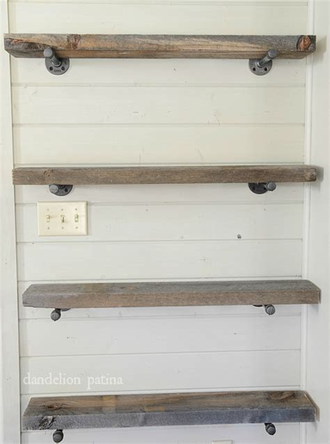diy industrial pipe shelving dandelion patina