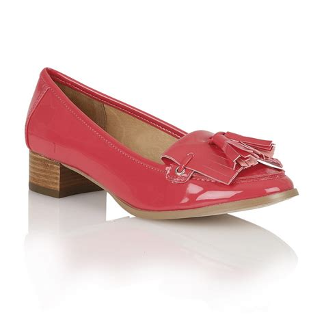 low heeled loafers ravel montgomery low heel loafers fuchsia patent ravel