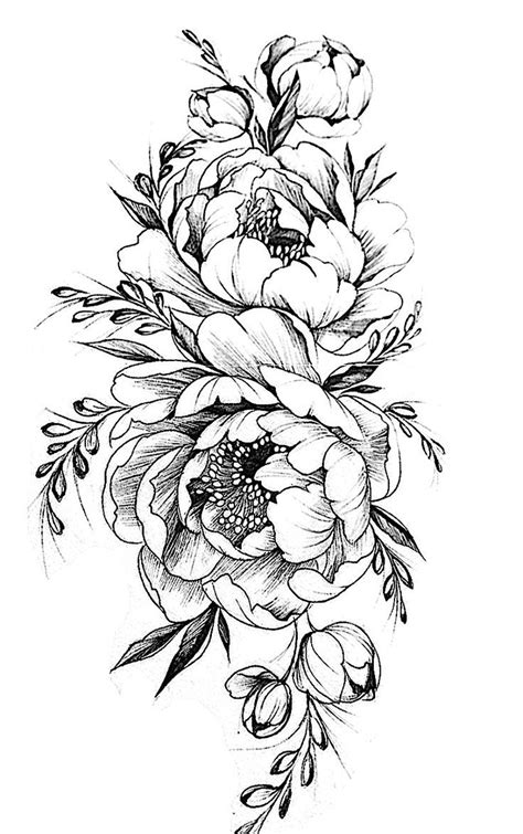 black and white flower tattoo designs image result for bird peony vintage black white t