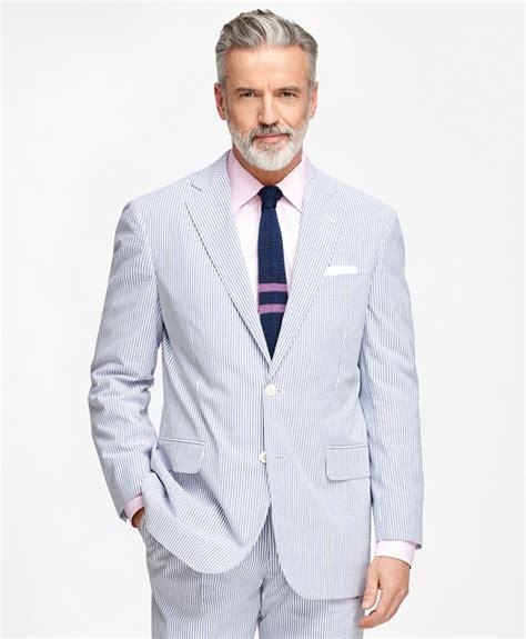 Sear Sucker S Regular Fit Blue Striped Seersucker Suit