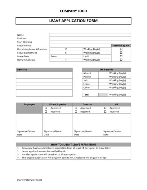 application form template leave application form