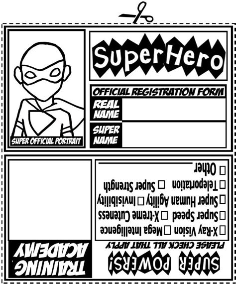 create printable id cards superhero family program sunflower storytime