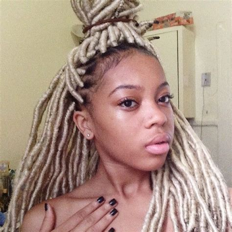 artificial dreadlock hairstyles black girl with blonde dread locks faux locks hairstyle