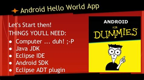 Android Hello World by Android Hello World 4 Dummies Non Programmers Pdf