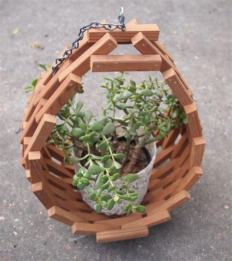 vintage mid century modern wooden hanging planter garden