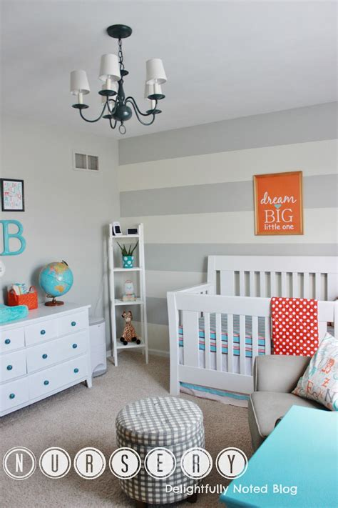 Finally Our Baby Boy S Aqua Orange Grey Nursery Aqua Nursery Decor