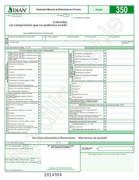 formulario350 en excel retencion 2017 formulario 350 para imprimir plantilla para elaborar