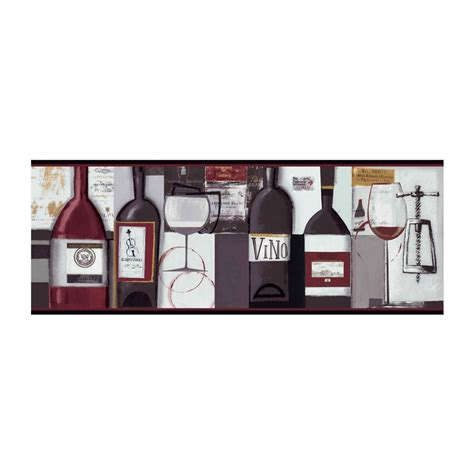 Contemporary Wine Wallpaper Border BG1682BD Wine Bottle Kitchen Decor