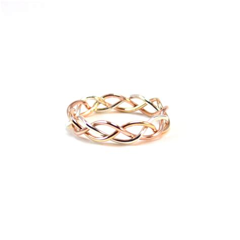 Band Rings by Tri Color Braided Ring Alternative Wedding Band Gold