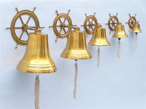 buy brass plated hanging ship wheel bell 8 inch