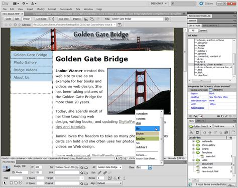 web design layout dreamweaver mengedit layouts css di dreamweaver cs5 206 241 f 245 rm 226 t 238 248 241