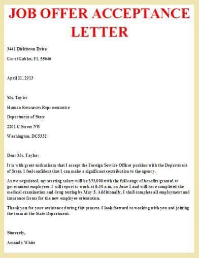 Offer Reply Letter Writing offer acceptance letter letter