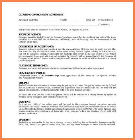 clothing consignment agreement template exle of consignment agreement ichwobbledich