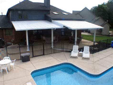 metal awning installation install metal patio awning to more privacy jacshootblog
