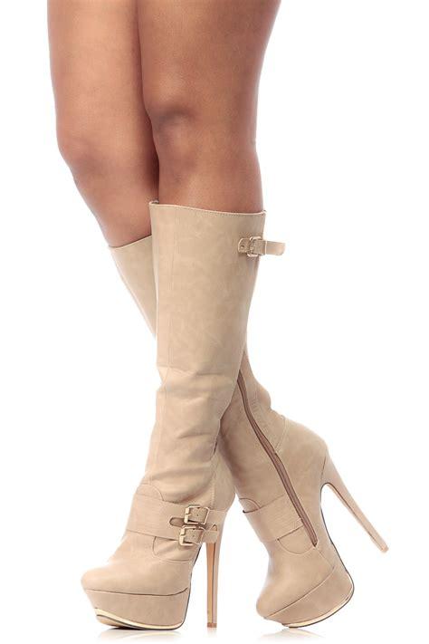 beige faux leather knee high platform boots cicihot