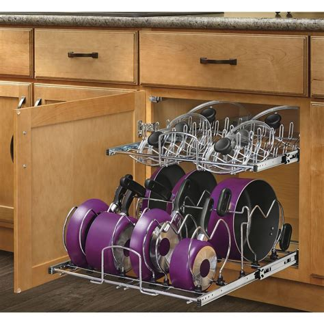 Rev A Shelf 2 Tier Cookware Organizer by Shop Rev A Shelf 20 75 In W X 18 13 In H Metal 2 Tier