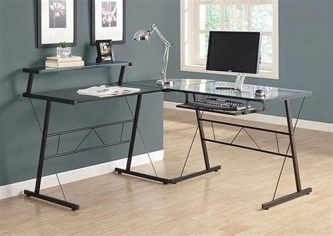black tempered glass desk cool glass computer desks for home office minimalist