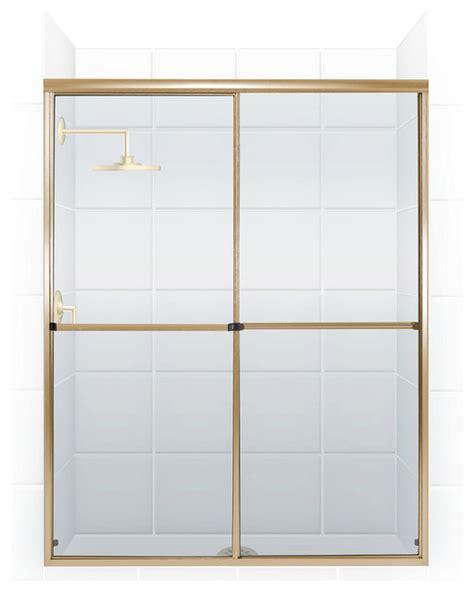 Gold Shower Doors Challenger Series Bypass Shower Door Gold Clear By Coastal Modern Shower Doors