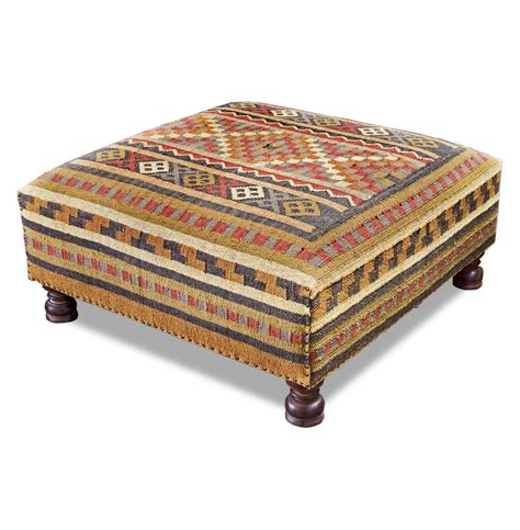 Rae Plains Southwestern Rustic Kilim Square Coffee Table Ottoman For Coffee Table