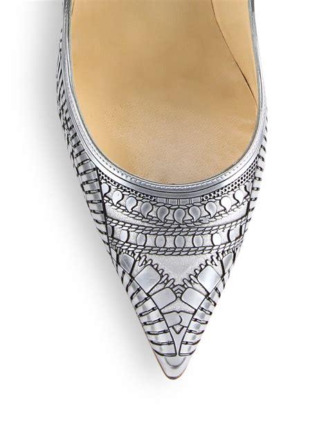 heels quinno laser silver lyst christian louboutin kristali laser cut metallic
