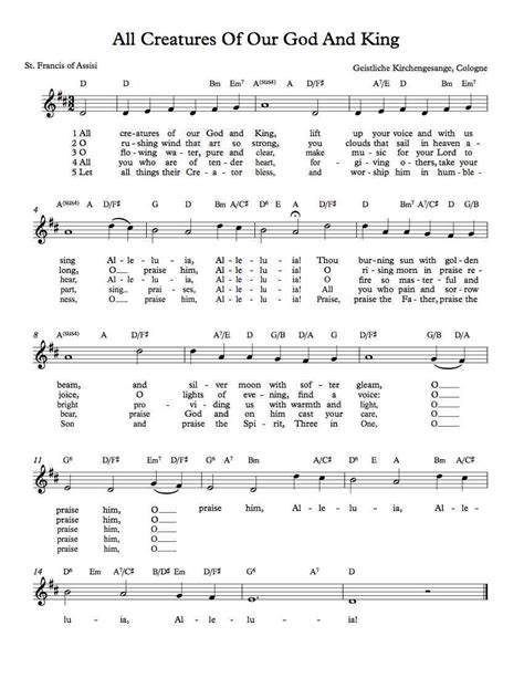 all creatures of our god and king by amy webb satb free lead sheet all creatures of our god and king