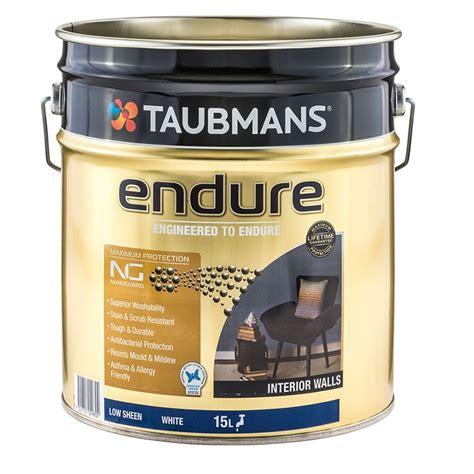 taubmans interior paint taubmans endure 15l white low sheen interior walls