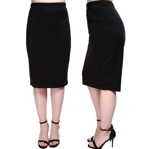 plus size high waist ponte pencil midi skirt plusylicious