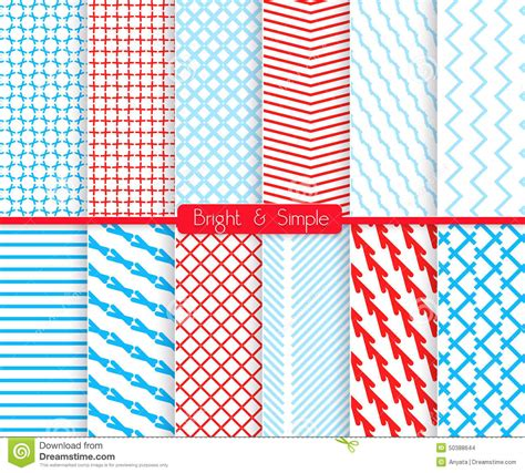 blue pattern l shade bright and simple red and shades of blue pattern set stock