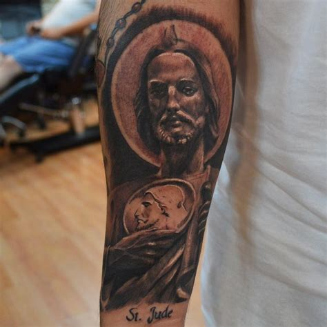 great realistic religious st jude portrait tattoo on